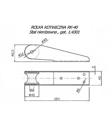 Wysięgnik kotwicy 185/40 mm - prowadnica